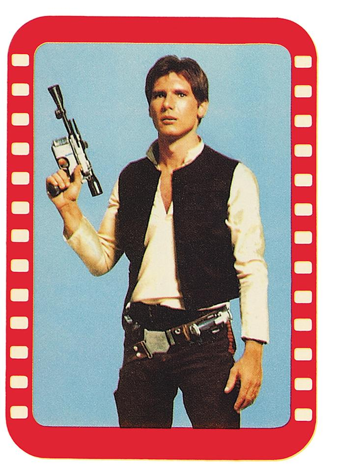 <p>Another great example of a Topps product using an image that wasn't in the 1977 film: Harrison Ford sports a completely different haircut in this image. (Credit: The Topps Company and Lucasfilm Ltd (C) Abrams Books) </p>