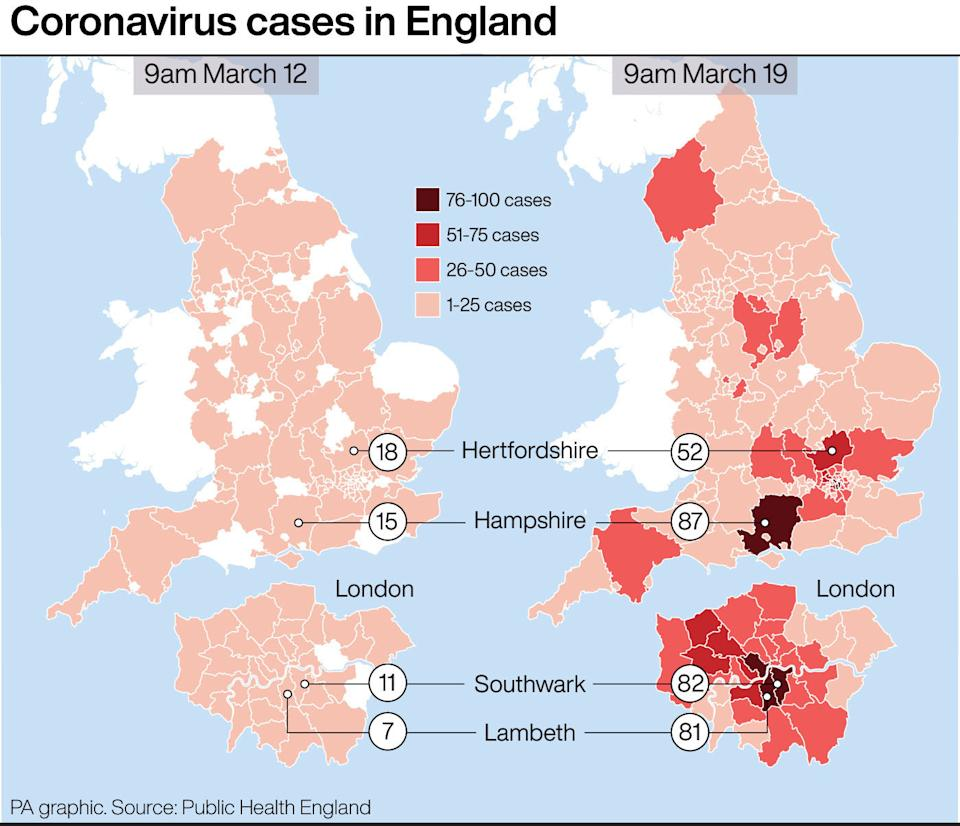 Coronavirus cases in England ,how the map has changed in a week. See story HEALTH Coronavirus. Infographic PA Graphics