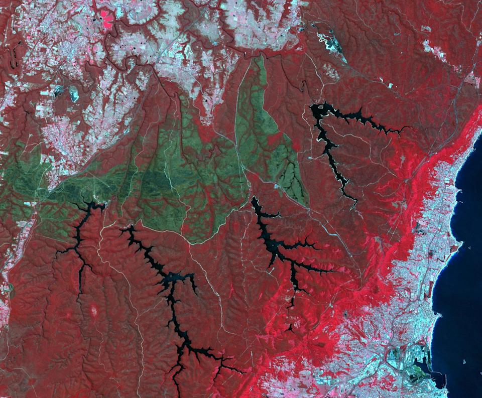 October 2013 brought the worst fires seen in the Australian state of New South Wales in many decades. More than 100 wildfires burned. One of the largest was the Hall Road fire, southwest of Sydney, west of the town of Wollongong. The fire scar is seen in this satellite image acquired Nov. 14, 2013, by the ASTER instrument on NASA's Terra spacecraft. Vegetation is displayed in shades of red, burned areas are dark gray, water is black and blue, and urban areas are blue-gray.