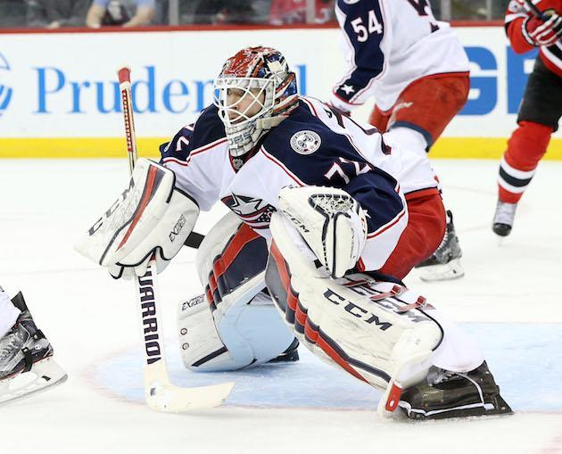 NEWARK, NJ – MARCH 19: Sergei Bobrovsky #72 of the Columbus Blue Jackets looks on as he tends goal during the second period against the New Jersey Devils on March 19, 2017 at the Prudential Center in Newark, New Jersey. (Photo by Christopher Pasatieri/Getty Images)