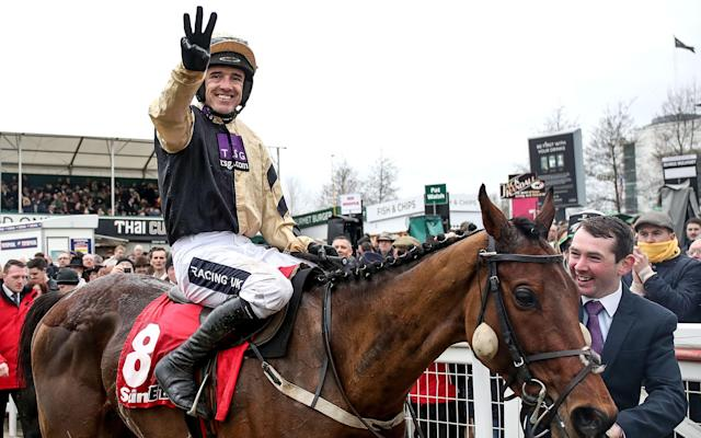 <span>Willie Mullins wins his third race of St Patrick's Day, taking the Stayers' Hurdle on Nichlos Canyon</span> <span>Credit: REX FEATURES </span>