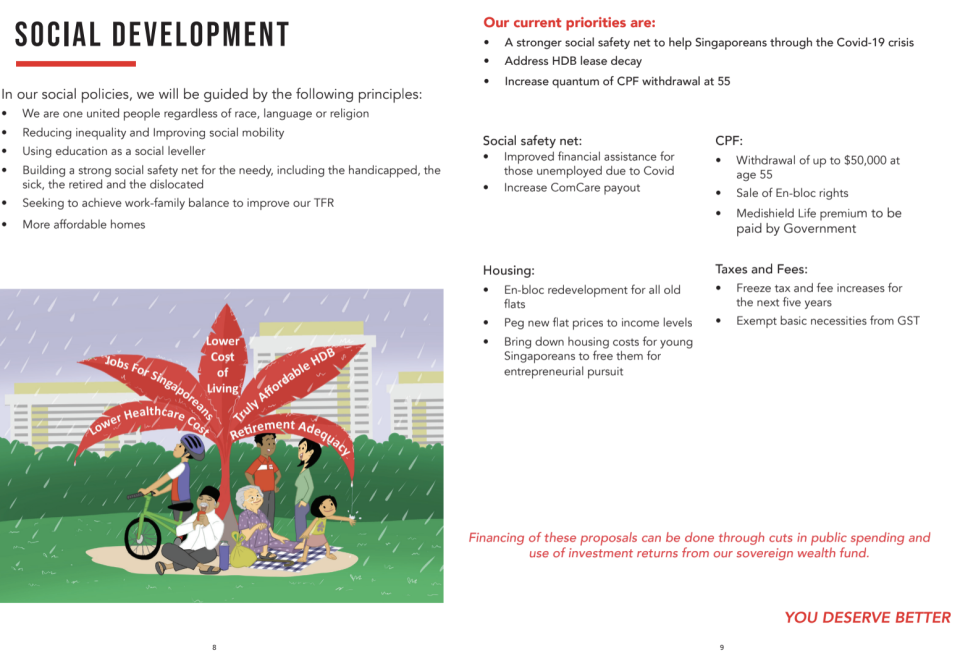 The party proposes increasing ComCare payouts and more financial assistance for those jobless due to COVID-19. (PHOTO: Screenshot of Progress Singapore Party's manifesto)