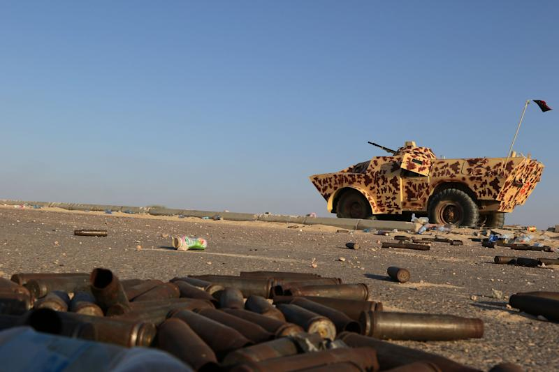 A military vehicle used by fighters from the pro-government forces loyal to Libya's Government of National Unity (GNA) is seen near ammunition casing on August 3, 2016 in Sirte during an operation against jihadists of the Islamic State (IS) group. (Photo: Mahmud Turkia/AFP/Getty Images)