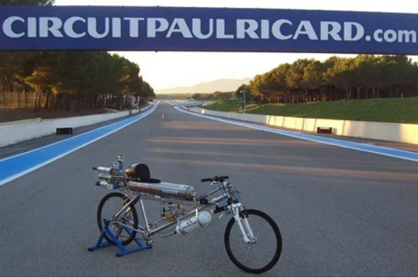 Record-breaking rocket-powered bicycle
