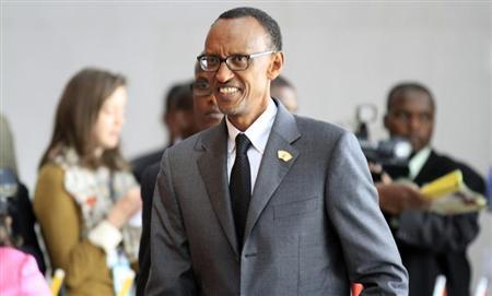 Rwanda's President Paul Kagame arrives for the extraordinary session of the African Union's Assembly of Heads of State and Government on the case of African Relationship with the International Criminal Court (ICC), in Ethiopia's capital Addis Ababa