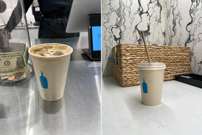 Blue Bottle's new sugarcane cup for iced coffee: in a Blue Bottle store in Manhattan and on a counter at Yahoo's offices. (Daniel Roberts/Yahoo Finance)