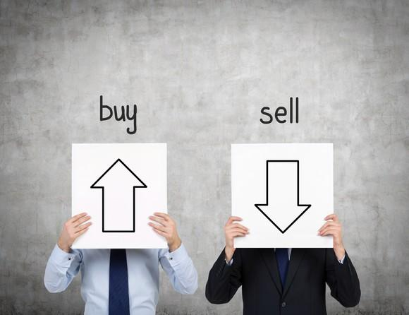 Two people hold signs in front of their faces. One shows an upward pointing arrow and the word buy, and the other shows a downward facing arrow and the word sell.