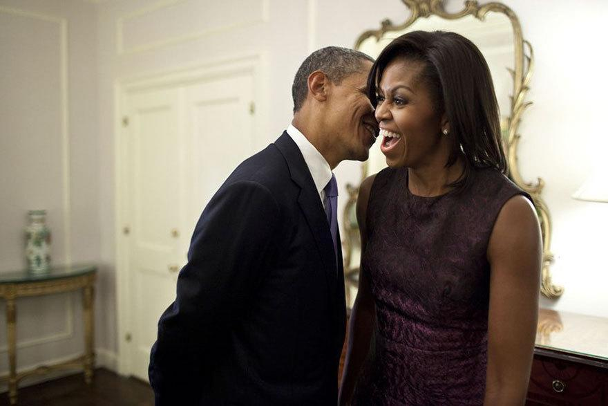 <p>When he whispered into Michelle's ear and made her laugh out loud. [Photo: The White House/Pete Souza]</p>