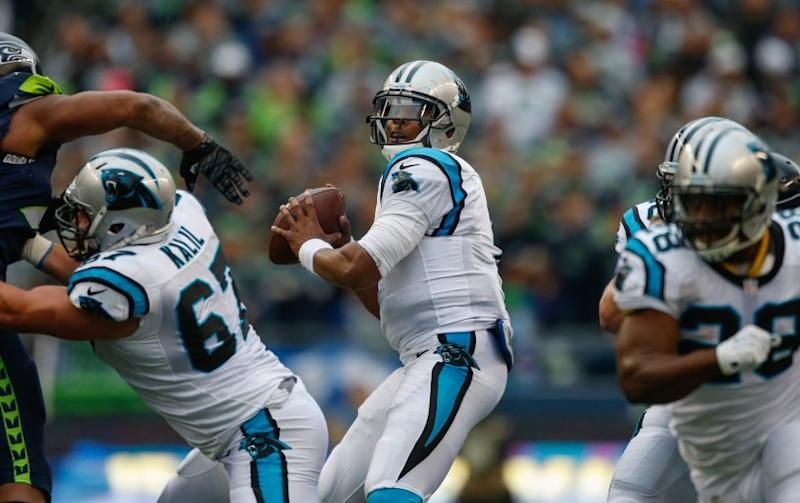 Panthers quarterback Cam Newton passes against the Seahawks during a game on Oct. 18.