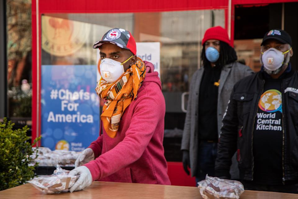 Marcus Samuelsson pivoted the mission of his Harlem restaurant, Red Rooster, to serve the community during the coronavirus pandemic. (Photo: World Central Kitchen)