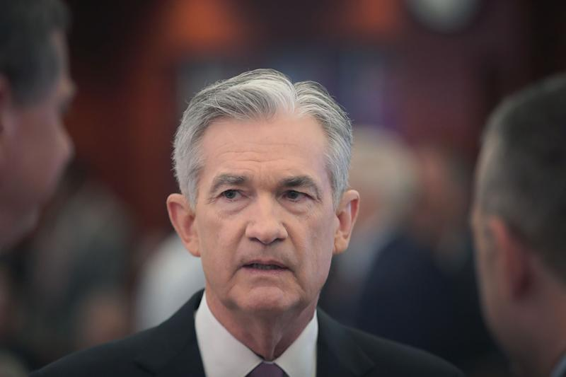 CHICAGO, IL - JUNE 04: Jerome Powell, chairman of the board of governors of the Federal Reserve speaks in front of guests at a conference at the Federal Reserve Bank of Chicago on June 04, 2019 in Chicago, Illinois. The purpose of the conference was to discuss monetary policy strategy, communication tools and practices. (Photo by Scott Olson / Getty Images)