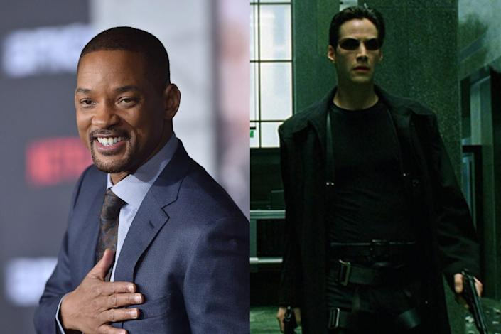 """<p>Smith turned down the lead role of Neo in <em>The Matrix</em>, which ultimately went to Keanu Reeves. """"In the pitch, I just didn't see it,"""" he later <a href=""""https://www.wired.com/2004/07/smith/"""" rel=""""nofollow noopener"""" target=""""_blank"""" data-ylk=""""slk:explained to Wired"""" class=""""link rapid-noclick-resp"""">explained to <em>Wired</em></a>. """"I watched Keanu's performance — and very rarely do I say this — but I would have messed it up… At that point I wasn't smart enough as an actor to let the movie be. Whereas Keanu was smart enough to just let it be. Let the movie and the director tell the story, and don't try and perform every moment."""" Years later, Smith also passed on the title role in <em>Django Unchained</em>, which went to Jamie Foxx. He <a href=""""https://www.hollywoodreporter.com/news/will-smith-explains-why-he-843195"""" rel=""""nofollow noopener"""" target=""""_blank"""" data-ylk=""""slk:told The Hollywood Reporter"""" class=""""link rapid-noclick-resp"""">told <em>The Hollywood Reporter</em></a> he felt the movie should have been """"a love story, not a vengeance story."""" </p>"""