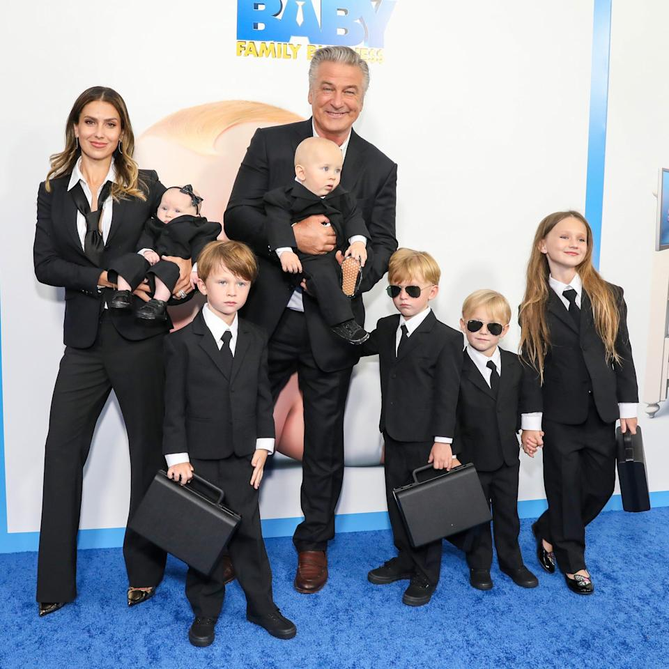 """Hilaria Baldwin, Alec Baldwin and their children, Lucia Baldwin, Rafael Baldwin, Eduardo Baldwin, Leonardo Baldwin, Romeo Baldwin and Carmen Baldwin attend """"The Boss Baby: Family Business"""" World Premiere at SVA Theater on June 22, 2021 in New York City."""