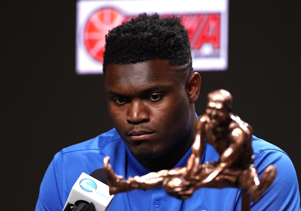 Zion Williamson of Duke speaks during a news conference after being awarded the USBWA Oscar Robertson Trophy Player of the Year prior to the 2019 NCAA Final Four on April 5, 2019. (Photo by Mike Lawrie/Getty Images)