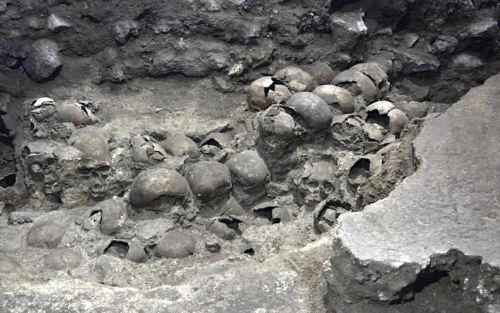 Remains at the Templo Mayor archaeology site, in Mexico City - Reuters