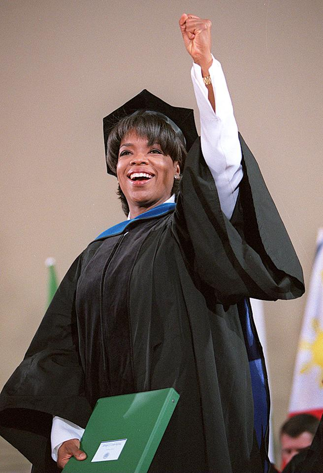 """<p class=""""MsoNormal""""><span style=""""mso-fareast-font-family: 'Times New Roman'; mso-bidi-font-family: 'Times New Roman';"""">Oprah Winfrey looked pretty proud to be the guest speaker at Wellesley College. She opened up her speech with, """"My hat's off to you!"""" (5/30/1997)</span></p>"""