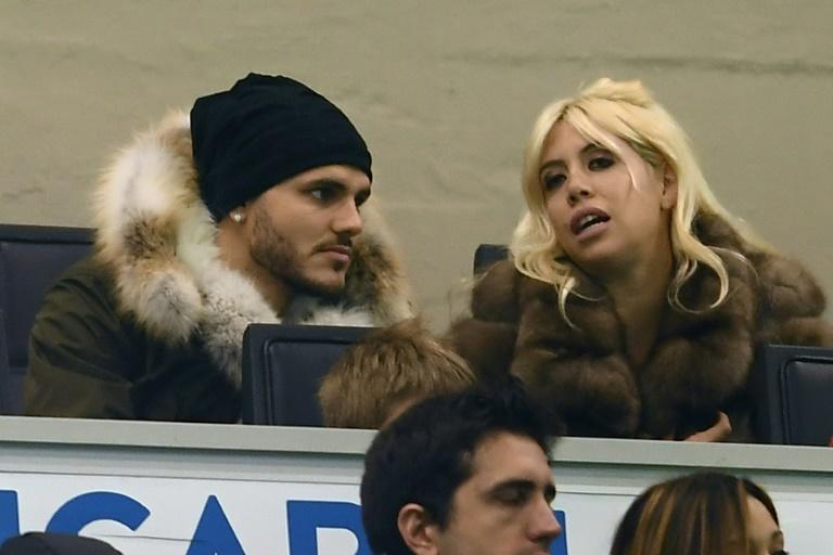 Not so secret agent: Mauro Icardi with his wife Wanda Nara who is also his agent