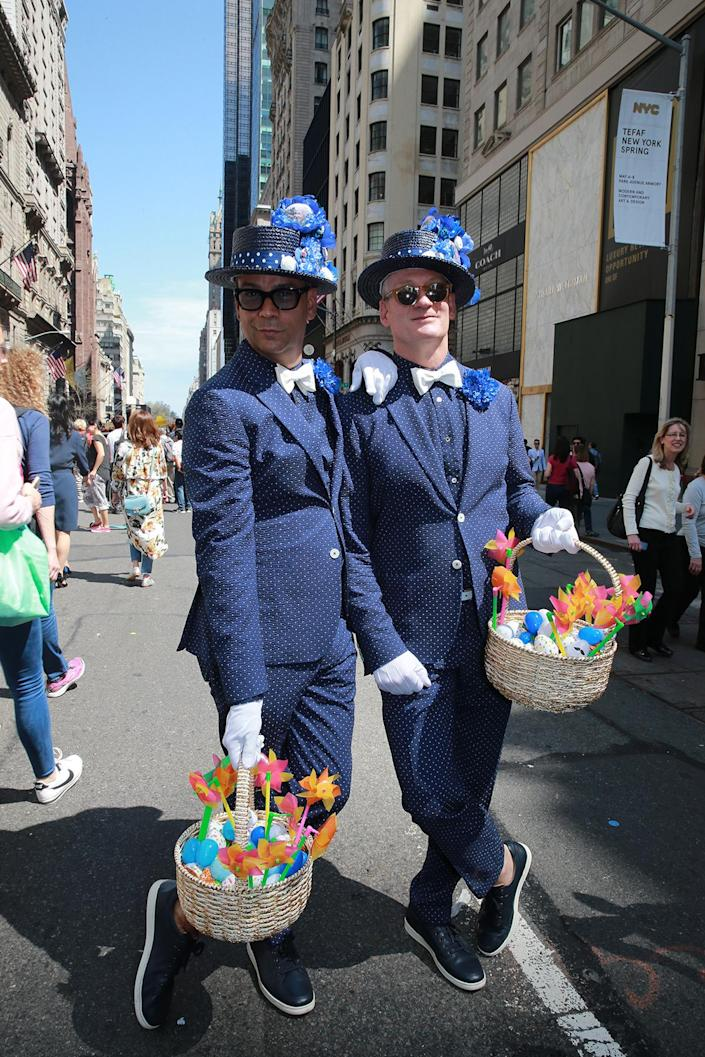 <p>James and Mark from Manhattan show off their Sunday best during the annual Easter Parade and Easter Bonnet Festival on the Fifth Avenue in New York on April 16, 2017. (Photo: Gordon Donovan/Yahoo News) </p>