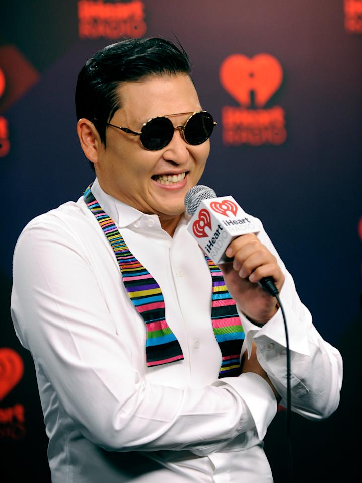 LAS VEGAS, NV - SEPTEMBER 21:  Rapper Psy interviews in the Elvis Duran Broadcast Room during the 2012 iHeartRadio Music Festival at MGM Grand Garden Arena on September 21, 2012 in Las Vegas, Nevada.  (Photo by David Becker/Getty Images for Clear Channel)