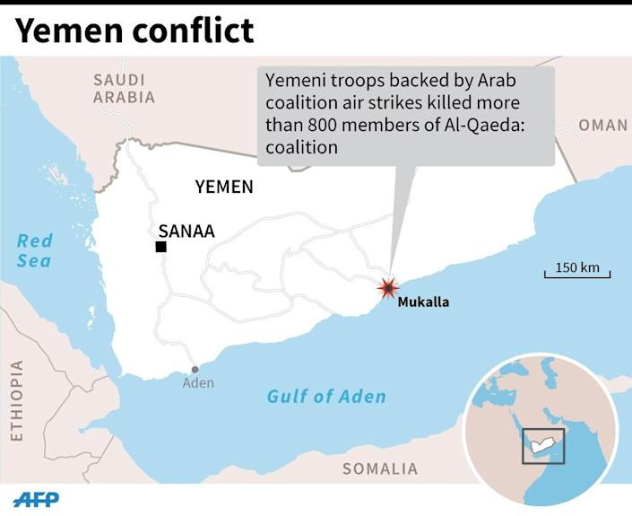 More than 800 jihadists killed in an assault on the southeastern city of Mukalla (AFP Photo/AFP)