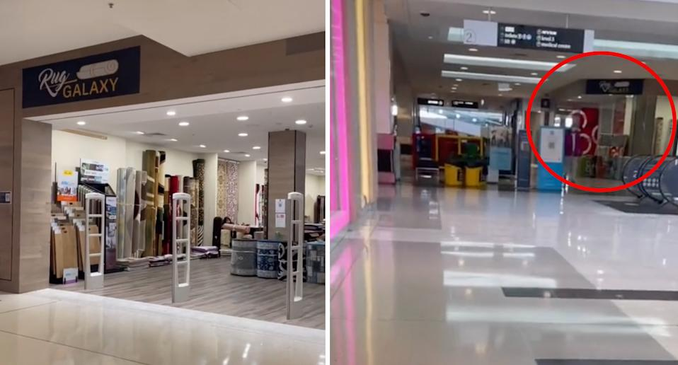 A rug shop is seen open in a shopping centre.