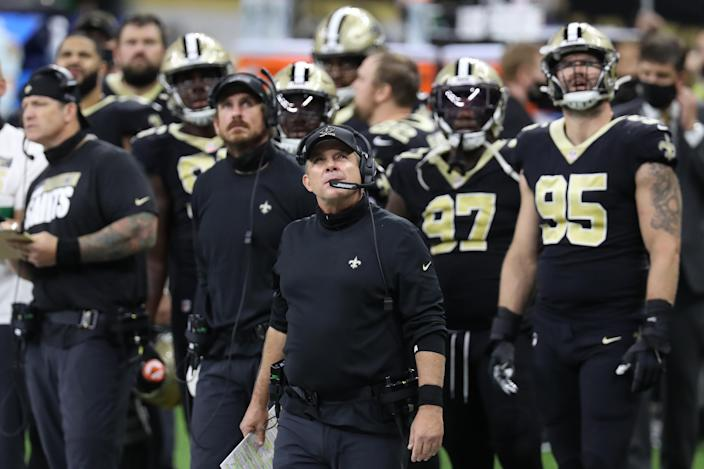 NEW ORLEANS, LOUISIANA - SEPTEMBER 13: head coach Sean Payton of the New Orleans Saints looks on against the Tampa Bay Buccaneers during the fourth quarter at the Mercedes-Benz Superdome on September 13, 2020 in New Orleans, Louisiana. (Photo by Chris Graythen/Getty Images)