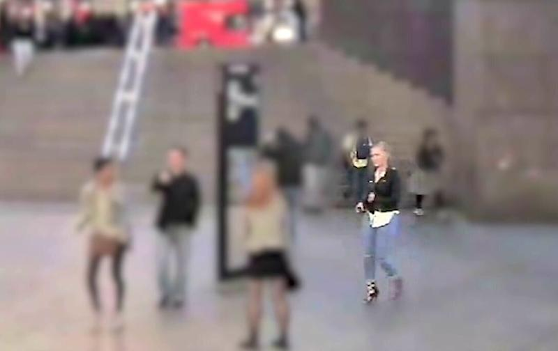 Screengrab taken from CCTV dated June 3 2017 issued by the Metropolitan Police of Australian au pair Sara Zelenak, 21, walking in front of One London Bridge on the night of the London Bridge terror attack. An inquest at the Old Bailey has been told that Ms Zelenak fell over in her high heels and was being helped up by a Good Samaritan when they were both fatally stabbed. (PA)