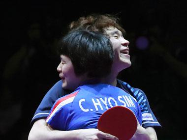 Joint North and South Korean team beats China to win gold in mixed doubles at Daejeon