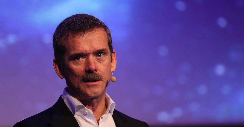 Astronaut commander Chris Hadfield makes a keynote address at the Laya Heathcare Pendulum Summit event at Dublin Convention Centre.   (Photo by Niall Carson/PA Images via Getty Images)