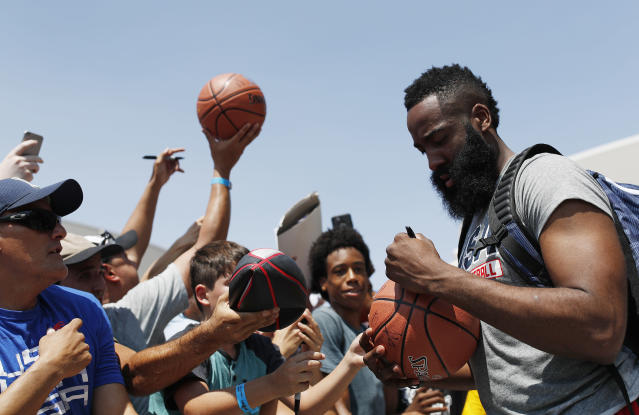 James Harden played Sunday in the Drew League and helped lead his team to a big win. (AP Photo)