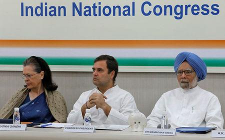 Rahul Gandhi, President of Congress party, his mother and leader of the party Sonia Gandhi and India's former Prime Minister Manmohan Singh attend a CWC meeting in New Delhi