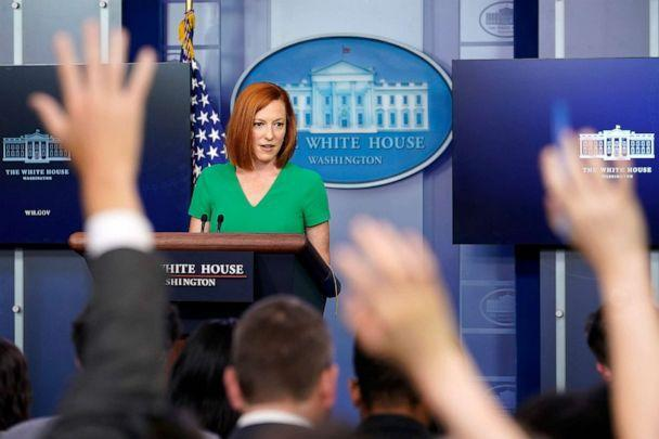 PHOTO: White House press secretary Jen Psaki speaks during the daily briefing at the White House in Washington, D.C., July 16, 2021.  (Susan Walsh/AP)