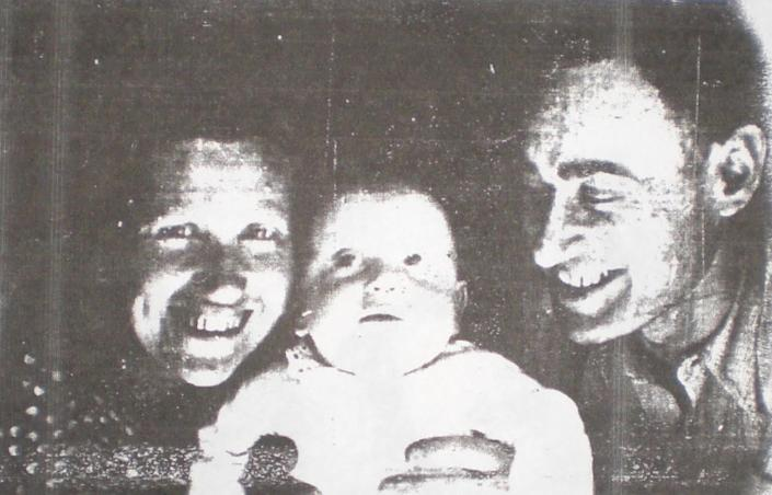 Sami Steigmann at three months old being held by his parents. A little over a year later they would all be in a Nazi camp in Ukraine.