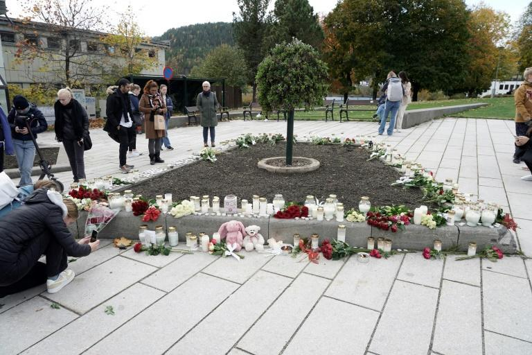 The attacker killed four women and a man, aged between 50 and 70, in several locations in Kongsberg (AFP/Terje Pedersen)