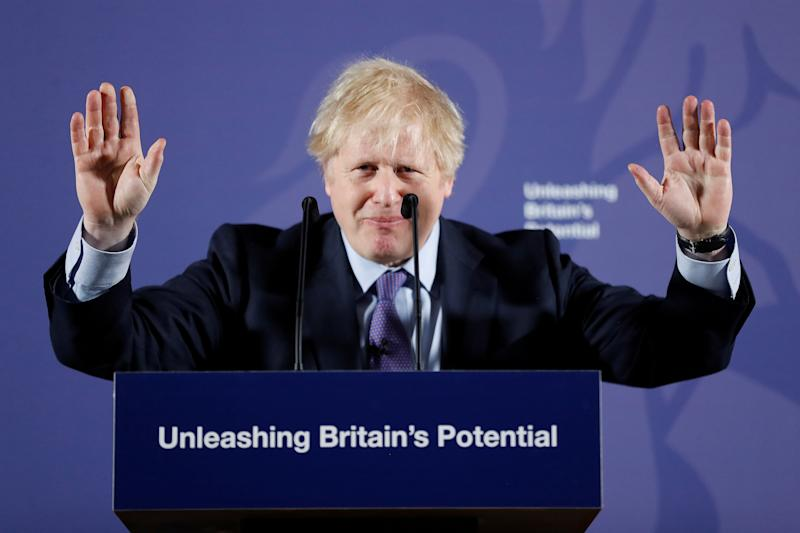 British Prime Minister Boris Johnson outlines his government's negotiating stance with the European Union after Brexit, during a speech at the Old Naval College in Greenwich, in London, Britain February 3, 2020. Frank Augstein/Pool via REUTERS