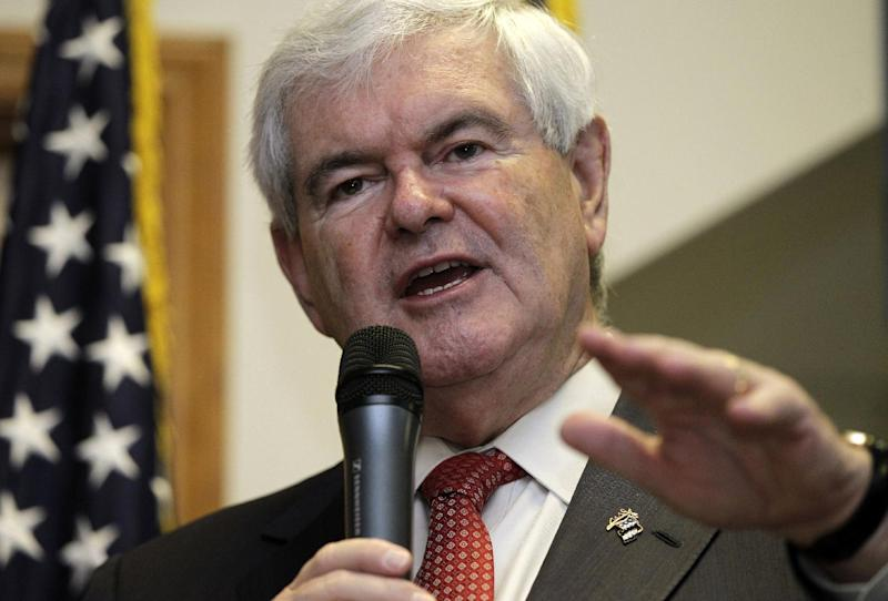 """FILE - In this April 25, 2012 file photo, Republican presidential candidate, former House Speaker Newt Gingrich speak in Cramerton, N.C. Gingrich is thanking his supporters a day before he officially suspends his bid for the Republican presidential nomination. Gingrich released a video message on his website Tuesday saying he would bring the campaign to a close on Wednesday. The former House speaker said he would continue working to defeat President Barack Obama, whose re-election Gingrich said would be a """"genuine disaster"""" for the country.   (AP Photo/Chuck Burton)"""