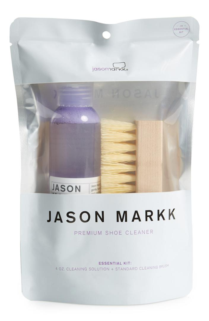 """And we're sure he'd also appreciate this cleaning kit from shoe care maven Jason Markk to ensure his kicks stay as fresh as possible. $16, Nordstrom. <a href=""""https://www.nordstrom.com/s/jason-markk-essential-shoe-cleaning-kit/3727266/full"""" rel=""""nofollow noopener"""" target=""""_blank"""" data-ylk=""""slk:Get it now!"""" class=""""link rapid-noclick-resp"""">Get it now!</a>"""