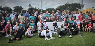 Their size, speed, and Pro Bowl practice jerseys made it easy to differentiate the NFL stars from the injured veterans in a flag football game in Orlando recently. But as to who was having more fun…that was tougher to tell.