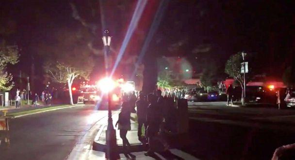 PHOTO: Emergency services are seen following an explosion during California Oktoberfest celebration in Huntington Beach, Calif., Oct. 5, 2019, in this picture obtained from social media video. (Koray Kircaoglu via Reuters)