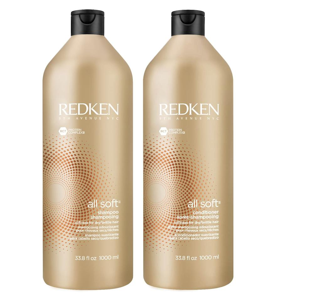"""<p>Ingredients like argan oil and soy protein help provide that silky, run-your-fingers-through-it feeling.</p><p><strong>Redken</strong> All Soft Shampoo and Conditioner, $17 each, <a href=""""https://www.ulta.com/all-soft-shampoo?productId=xlsImpprod15511061"""" target=""""_blank"""">ulta.com </a><a class=""""body-btn-link"""" href=""""https://go.redirectingat.com?id=74968X1596630&url=https%3A%2F%2Fwww.ulta.com%2Fall-soft-shampoo%3FproductId%3DxlsImpprod15511061&sref=http%3A%2F%2Fwww.harpersbazaar.com%2Fbeauty%2Fhair%2Fg5153%2Fbest-shampoos-and-conditioners%2F"""" target=""""_blank"""">SHOP NOW</a></p>"""