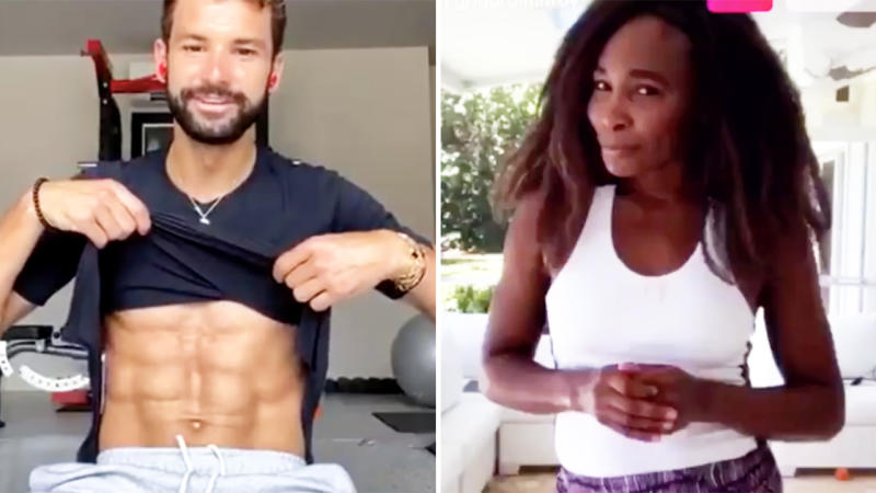 Grigor Dimitrov and Venus Williams, pictured here during their online workout.