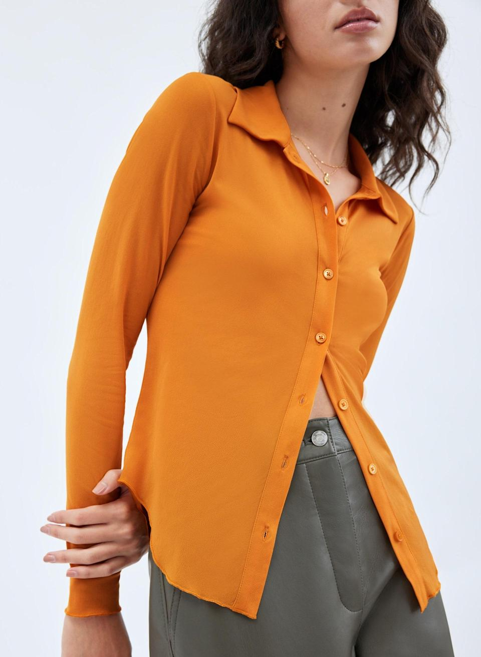 """There's nothing wrong with looking like a pumpkin-spice dream now that it's officially fall. $50, Aritzia. <a href=""""https://www.aritzia.com/us/en/product/charm-longsleeve/78997.html?dwvar_78997_color=22252"""" rel=""""nofollow noopener"""" target=""""_blank"""" data-ylk=""""slk:Get it now!"""" class=""""link rapid-noclick-resp"""">Get it now!</a>"""