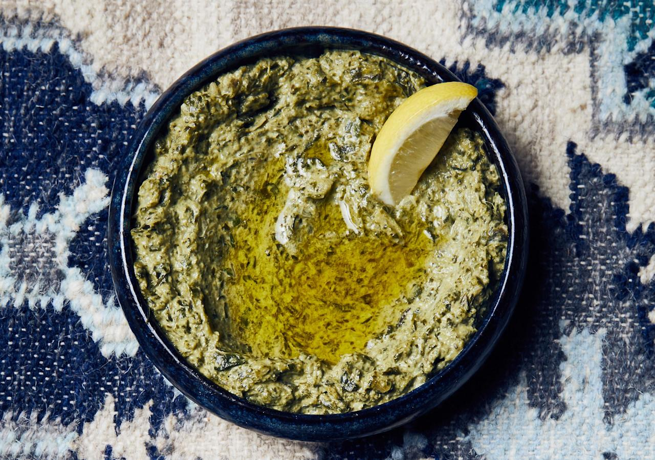 """If you love hummus or baba ghanoush, this dairy-free dip will become a new favorite. Just make sure you have plenty of warm flatbread to scoop it all up. This recipe is from <a href=""""http://projects.bonappetit.com/hot10/p/3"""">Maydan</a> in Washington, DC, our No. 2 <a href=""""https://www.bonappetit.com/hot10?mbid=synd_yahoo_rss"""">Best New Restaurant 2018</a>. <a href=""""https://www.bonappetit.com/recipe/swiss-chard-tahini-dip?mbid=synd_yahoo_rss"""">See recipe.</a>"""