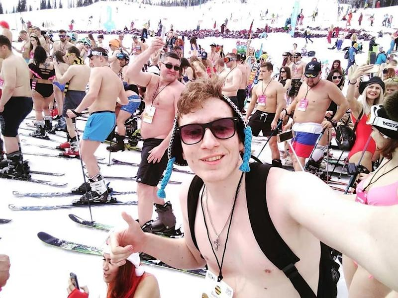 Snowboarders and skiers went down the mountain in swimwear. Photo: Instagram/_Ivanoff_