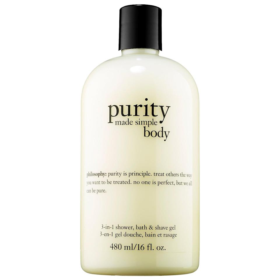 <p>The <span>Philosophy Purity Made Simple 3-in-1 Shower, Bath and Shave Gel</span> ($28) doesn't just get skin clean, it also hydrates, conditions, and locks in moisture as it makes a smooth base for an irritation-free shave at the same time.</p>