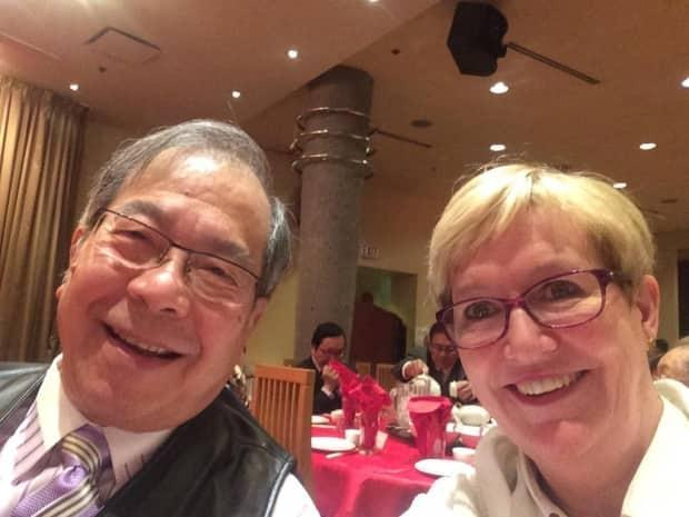 Bill Yee, left, pictured in 2015 in Vancouver at a Chinatown Merchants Association dinner with Suzanne Anton, British Columbia's former attorney general and minister of justice. (Suzanne Anton/Twitter - image credit)