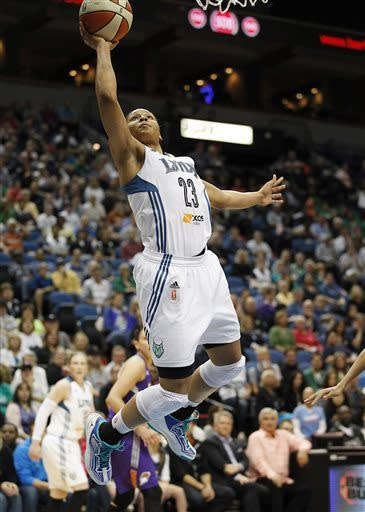 Minnesota Lynx forward Maya Moore (23) in the first half of a WNBA basketball game Thursday, June 6, 2013, in Minneapolis. The Lynx won 99-79 and Moore scored most points 22. (AP Photo/Stacy Bengs)
