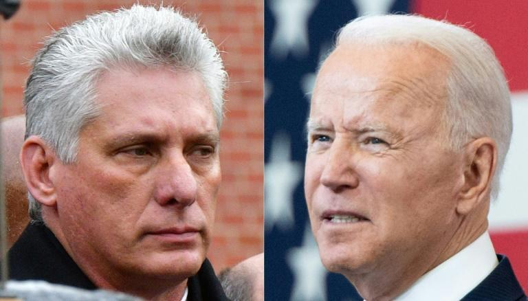 Cuban President Miguel Diaz-Canel (L) and US President Joe Biden traded barbs in the wake of unprecedented protests across Cuba