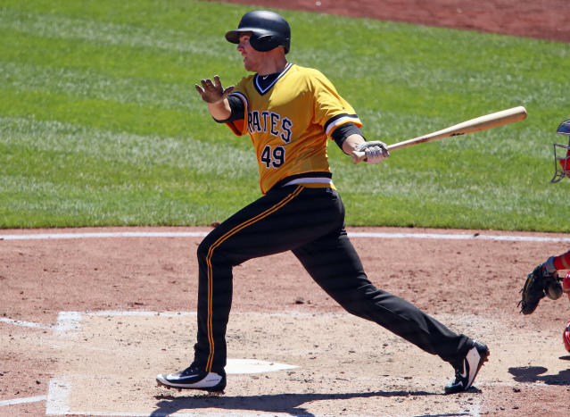 Pittsburgh Pirates' Nick Kingham drives in two runs with a double off Philadelphia Phillies starting pitcher Drew Anderson in the fourth inning of a baseball game in Pittsburgh, Sunday, July 8, 2018. (AP Photo/Gene J. Puskar)