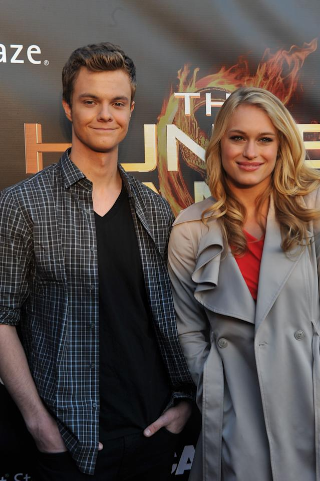 """ATLANTA, GA - MARCH 06: (L-R) Actor Jack Quaid and actress Leven Rambin attend """"The Hunger Games"""" National Mall tour fan event at Lenox Square on March 6, 2012 in Atlanta, Georgia. (Photo by Moses Robinson/Getty Images)"""